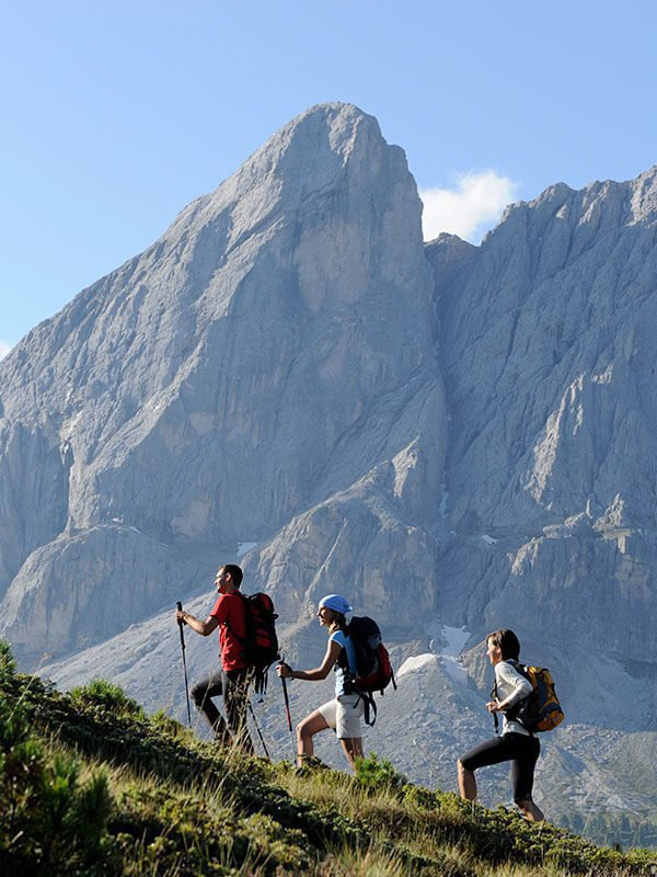 Hiking in the summer vacation at the Plan de Corones in South Tyrol